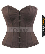 Full Steel Boned Spiral Victorian Over bust Bustier Gothic Brown Cotton ... - $52.98+