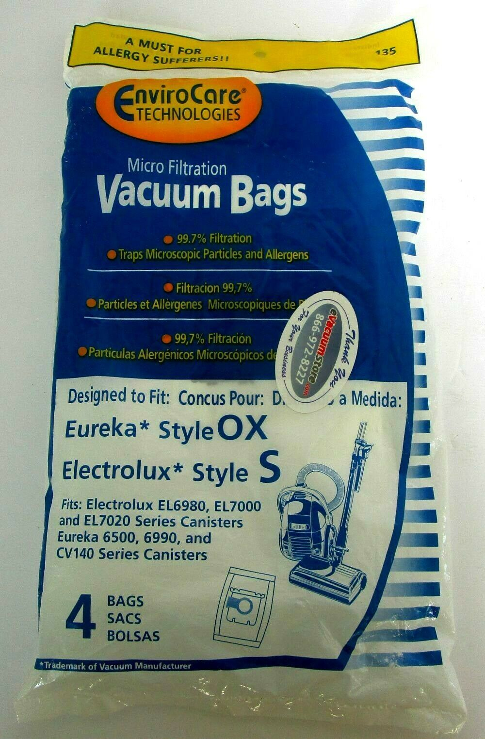 EnviroCare Electrolux S Eureka OX Canister Micro filtration Vacuum Cleaner Bags - $9.75