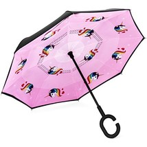 Brightman Small Inverted Unicorn Umbrella for Kids Reverse Umbrella Doub... - $32.38
