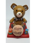 Vintage Bear Happy Birthday wood wooden decoration Cake Topper pre-owned... - $15.85