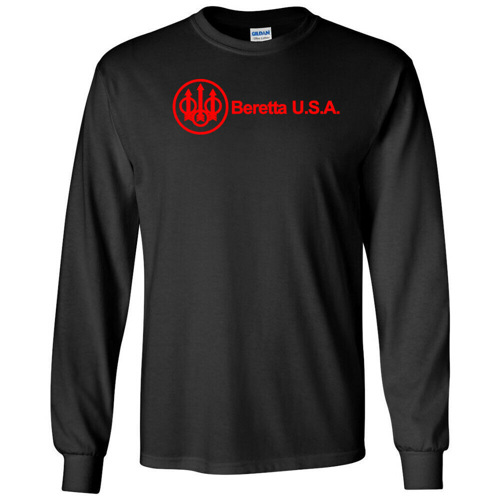 Primary image for Beretta Script USA Red Logo Long Sleeve Shirt 2nd Amendment Pro Gun Tee Rifle