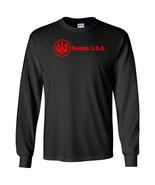 Beretta Script USA Red Logo Long Sleeve Shirt 2nd Amendment Pro Gun Tee ... - $22.49+