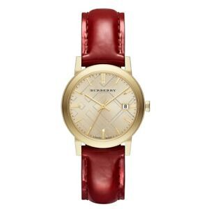 Burberry BU9140 Women Gold Plated Red Patent Leather Watch