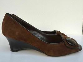 Vintage Franco Sarto Heels 8.5 M Brown Fine Leather Suede Open Toe Wedge... - $19.49