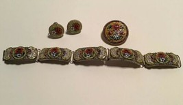 Vtg Multi Colored Floral Micro Mosaic Link Bracelet Earrings Brooch Italy - $44.55