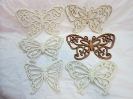 Six Small - Medium Vintage Homco Faux Wicker Butterfly 3D Wall Hangers - $16.82