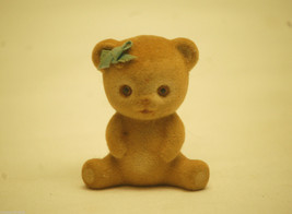 Old Vintage 1984 Enesco Miniature Fuzzy Teddy Bear w Bow Designed Giftware - $8.90