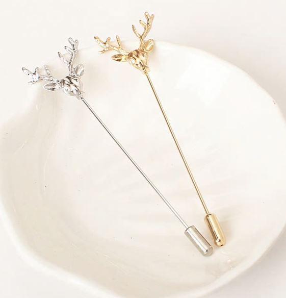 Simple Retro Deer Head Christmas Brooch Pin Women Men Suit Animal Collar Pin  image 7