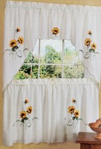 3pc. Embellished Curtains Set: 2 Tiers & Valance SUNFLOWERS, SUNSHINE, A... - $22.76