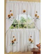 3pc. Embellished Curtains Set: 2 Tiers & Valance SUNFLOWERS, SUNSHINE, A... - $22.76