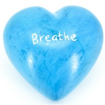 """Vaneal Group Hand Carved Soapstone 2-Sided """"Breathe"""" Sky Blue Heart Paperweight image 2"""