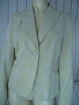ANN TAYLOR PETITES Blazer 12P Palest Green Floral Print Cotton Linen But... - $48.48