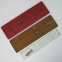 Vtg Drueke's No. 28 Natural Finish Hardwood Cribbage Board w Pegs Original Box  - $18.79