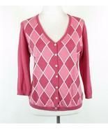 TALBOTS Size 1X Petite Pink Argyle Cotton Blend Cardigan Sweater - $18.99