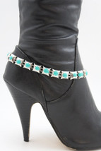 Women Fashion Boot Bracelet Silver Metal Chain Turquoise Bling Anklet Shoe Charm - $16.65