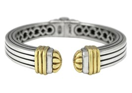 Ladies Authentic Lagos Caviar 925 Sterling 18K Yellow Gold Hinge Cuff Br... - $544.95