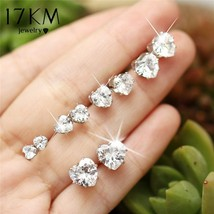 17KM® Big Heart Stud Earrings Set For Woman New Silver Color Cubic Zirconia - $4.47