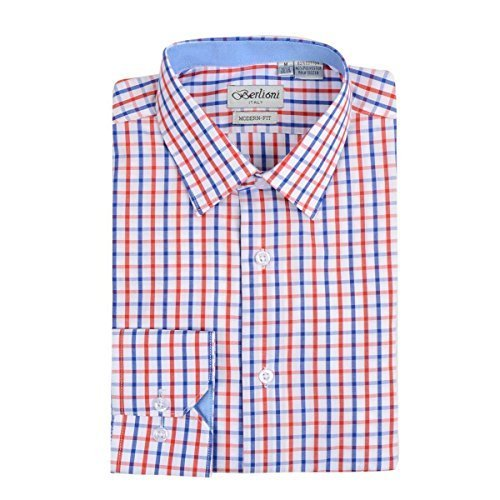 Berlioni Italy Boys Kids Toddlers Checkered Plaid Dress Shirt (Red, 14)