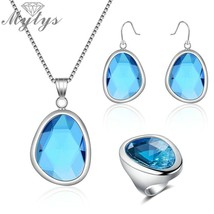 Mytys Clear Ocean Blue Glass Stone Jewelry Sets for Women Fashion Pendan... - $38.53