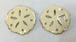 "Sand Dollar Earrings Cream Enamel Vintage Cut Out Sea Shell Shape 1 3/8""... - $12.86"