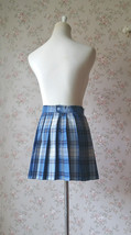 Light BLUE PLAID Skirt Women Girl Pleated Plaid Skirt Outfit Mini Plaid Skirt image 6