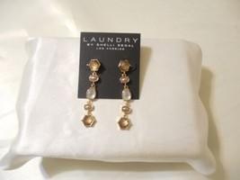 "Laundry by Shelli Segal 2-1/4"" Gold Tone Jeweled Linear Drop Earrings C8... - $14.39"