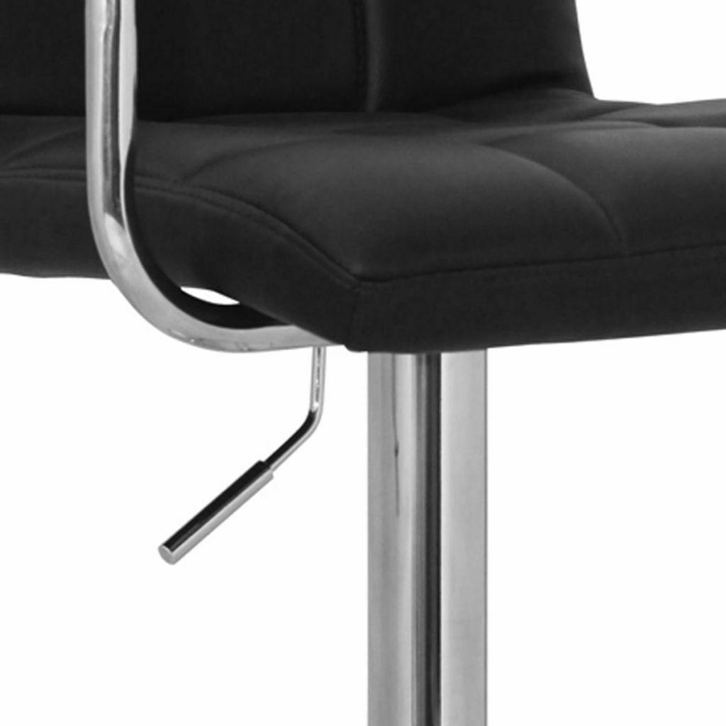 Set of 2 Adjustable Swivel Bar Stool PU Leather Hydraulic w/Armrest White/Black image 7