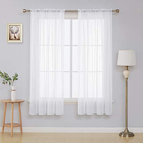 Deconovo White Sheer Curtains 72 Inch Length-Rod Pocket