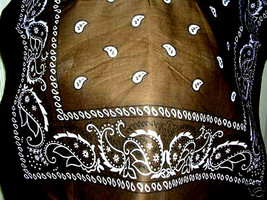 NEW CLASSIC ORIGINAL DARK BROWN PAISLEY BANDANA HEAD WRAP SCARF BELT & MORE - $4.00