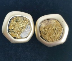 Vintage Gold Toned Speckled metal clip on Earrings - $9.89