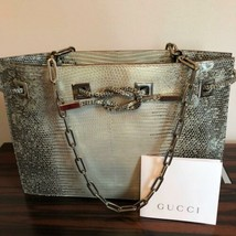 NWOB GUCCI Gray Snake Stamped Leather Small Bag TOM FORD era - $841.50