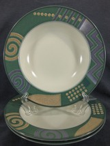 Mikasa Life Style CAC18 Lot of 3 Rimmed Soup Bowls Intaglio Geometric - $29.95