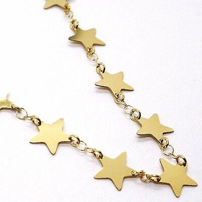 CHOKER NECKLACE YELLOW GOLD 750 18K, STARS FLAT, 40 CM image 2