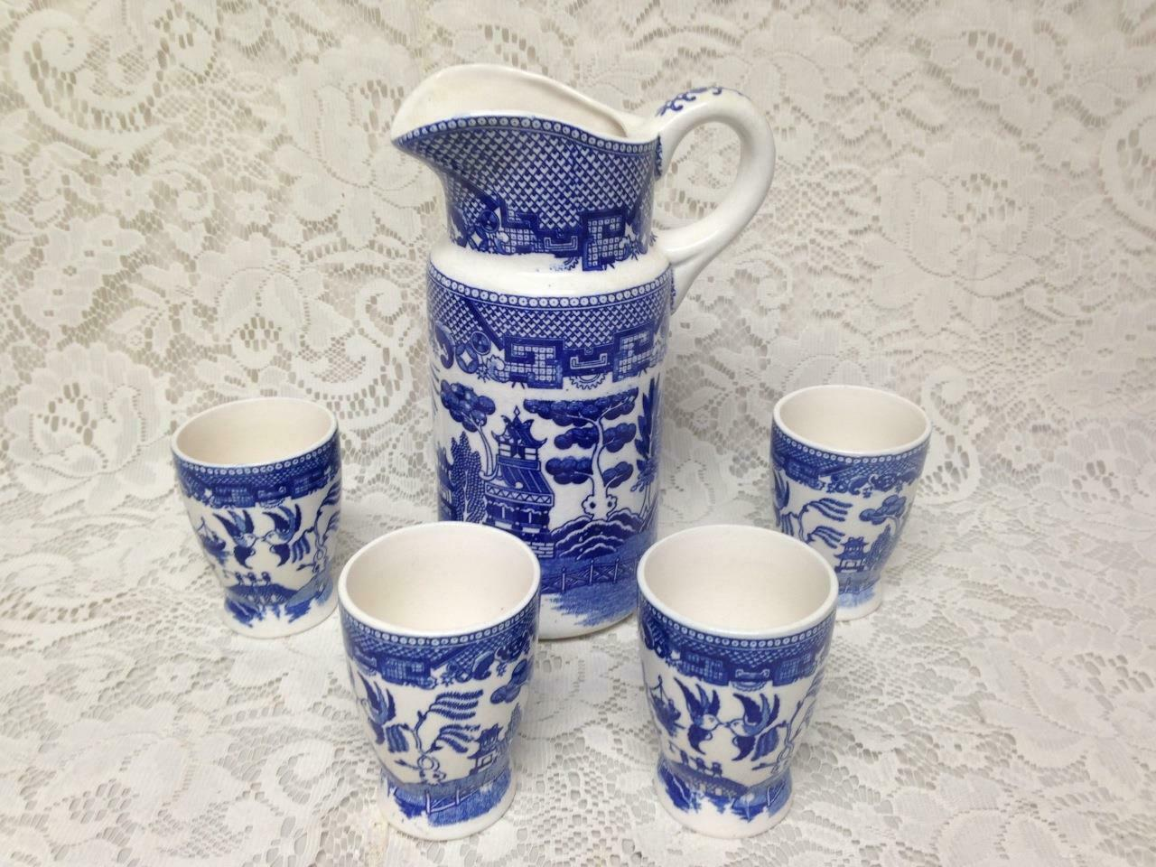 Primary image for Vintage, Japan, Blue Willow 5pc Juice-Iced Tea Set, 9in Pitcher, 3.5in Tumblers
