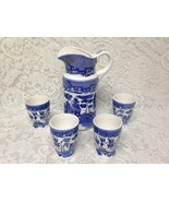 Vintage, Japan, Blue Willow 5pc Juice-Iced Tea Set, 9in Pitcher, 3.5in T... - $161.45
