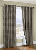 "Waves Lined Thermalogic Curtain Woven Jacquard Grommet 52"" wide 84"" Tall Grey  - $31.70"