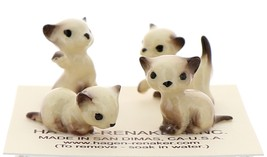 Hagen-Renaker Miniature Cat Figurine Tiny Siamese Kittens Set Seal Point