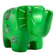 SMOLArt Hand Carved Soapstone Green Elephant Figurine Made in Kenya image 4