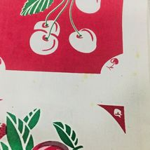 Reproduction Kitchen Toweling Towel Fabric Unsewn Red Cream Green Cherries Apple image 3