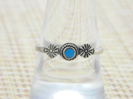 Blue Turquoise Enamel Flower Southwest .925 Sterling Silver Ring 8 Vintage - $29.69