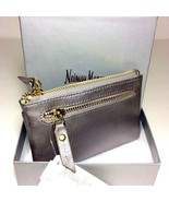 Neiman Marcus Women's Leather Zip-Top Coin Purse With Key Ring.Metallic ... - $42.08