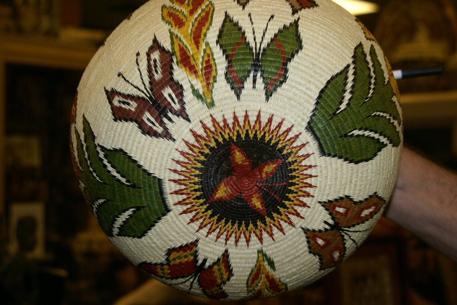 Museum Wounaan Indian Hosig Di Masterpiece Artist Basket Orchid Flowers 300A29 -