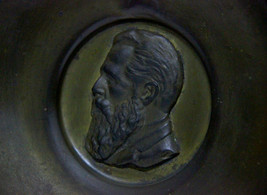 Israel Vintage Bronze Plate Tray Maskit Handmade Signed 1950's Wall Hang Herzl image 2