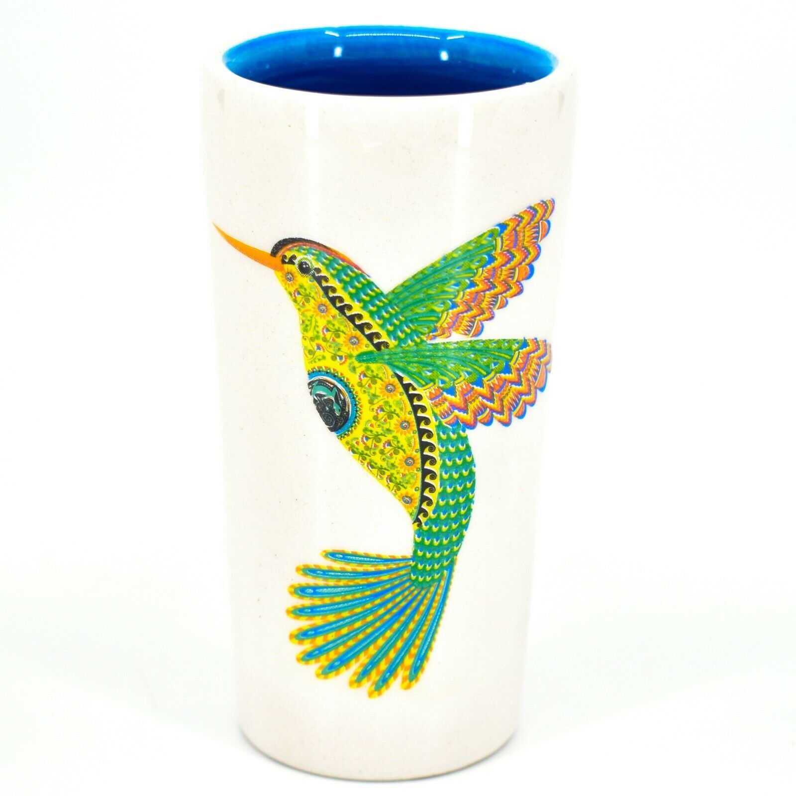 Hummingbird Alebrije Printed Ceramic Tequila Shot Glass Shooter Made in Mexico