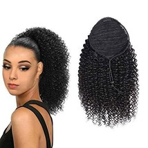 Ponytail Extension Afro Kinky Curly Natural Black 1B for Black Women Ponytail Br - $48.57