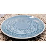 Threshold Kennet Azure Salad Plate Blue Embossed Dots Bands Stoneware - $8.55