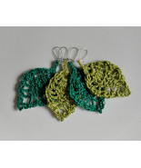 Crochet Leaf Earrings / Crochet Leaf Drops / Crochet Earrings / Handmade... - $11.00