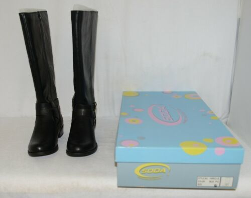 Soda HIROS Black Zip Up Riding Boot Gold Colored Accents Size 6 And Half