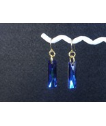 Swarovski Dangle  Earrings / Brite Blue /14k Filled/made w/Swarovski Ele... - $27.95+