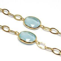 Bracelet Yellow Gold 18K 750, Zircon Blue, Central Oval Wavy, 18.5 CM image 3